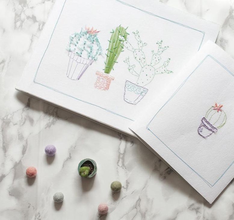 DIY Carnets brodés Cactus par Tea&Poppies