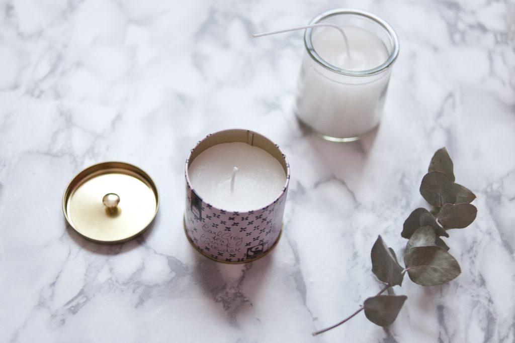 Bougies, fait main, boite de thé