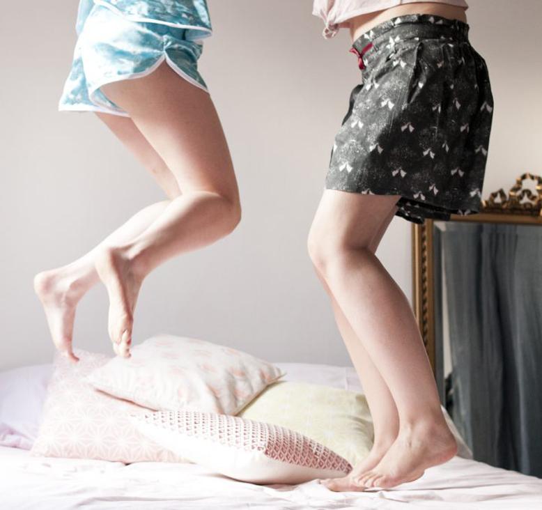 Shooting pyjama coeur home made par Tea&Poppies