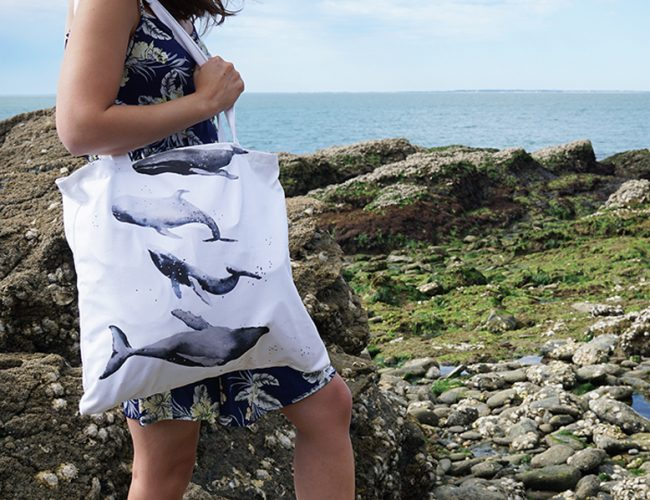 DIY tote bag sac plage piscine baleines par Tea&Poppies