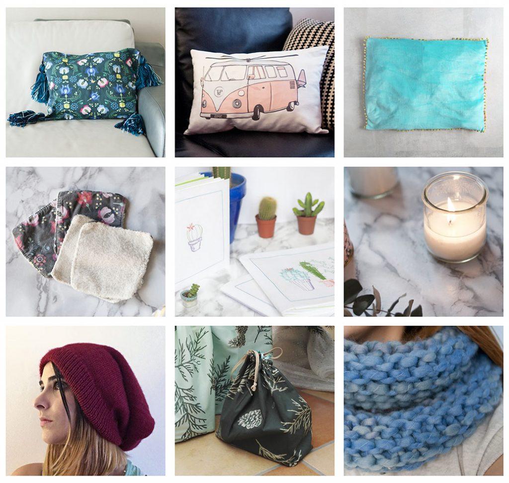 DIY cadeaux à faire soi-même Tea&Poppies: coussin, tapis de sol, bonnet, snood, bougie, lingettes démaquillantes, carnets brodés