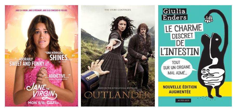 Découvertes séries et livre en décembre 2017 par laurie Jane the virgin, Outlander, le charme discret de l'intestin