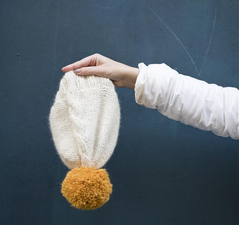 Diy, tricot, bonnet, tricoter, tuto, turoriel, pompon, gros pompon, fait main, torsade