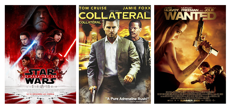 Découvertes film et séries en décembre 2017 par Virginie. Star Wars, Collateral, Wanted Angélina Jolie