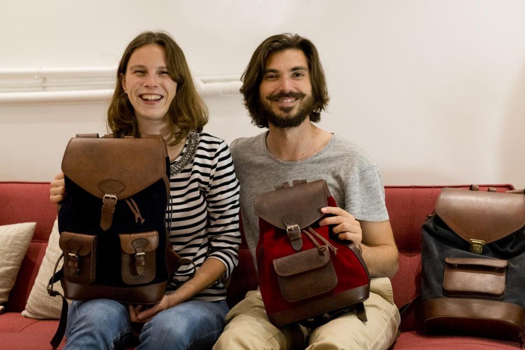 Pachamama, photo, sac, cuir, fabriqué en Bolivie, marque éthique, sac-à-dos, sac de voyage, Juliette, Gaétan, créateurs, entrepreneurs
