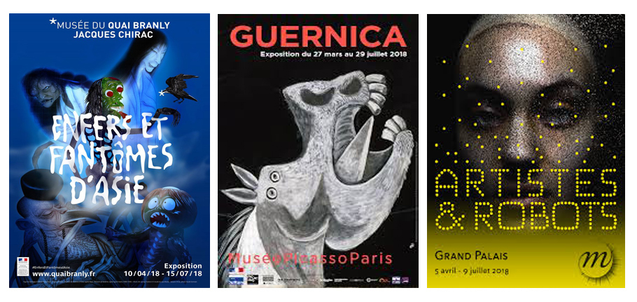 Expos du mois de juin 2018 vues par Laurie Tea and Poppies enfers et fantômes d'Asie, Guernica Picasso, Artistes er robots grand Palais