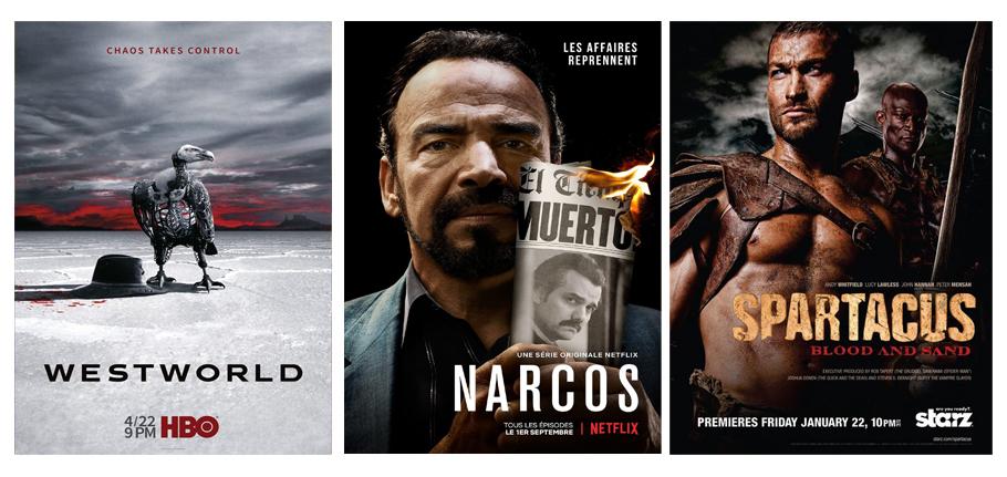 Séries du mois de juin 2018, Narcos, affiches, séreis, Netflix, Spartacus, WestWorld