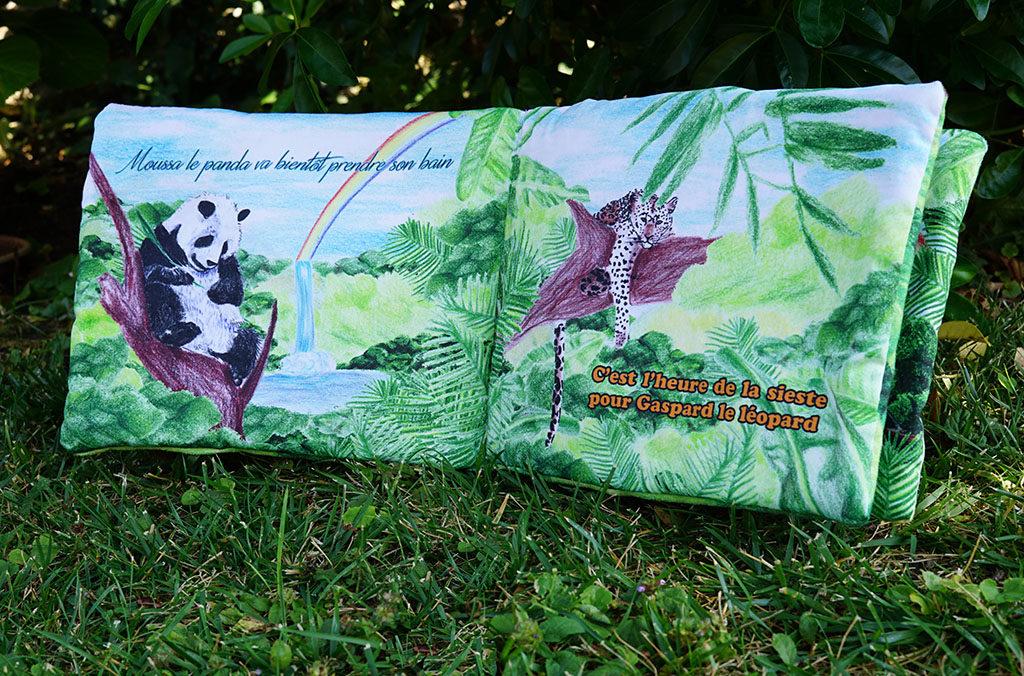 DIY créer un livre d'éveil personnalisé et personnalisable. Ici le livre d'éveil de Maélie par Tea&Poppies panda panthère