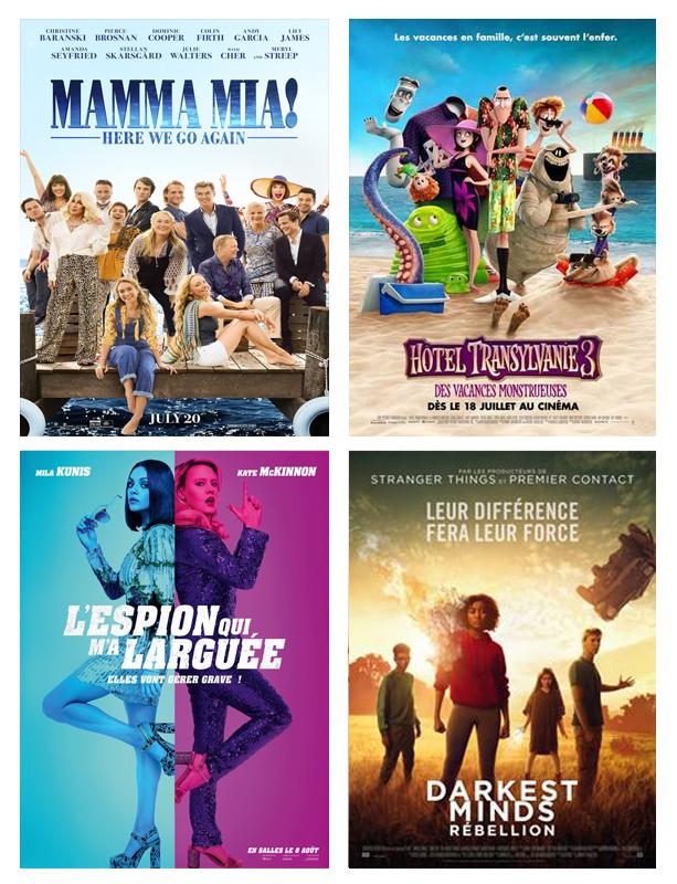 Août 2018 : films vus par Laurie de Tea and Poppies . Mama Mia 2 , Hotel Transylvanie 3 , L'espion qui m'a larguée , Darkest minds