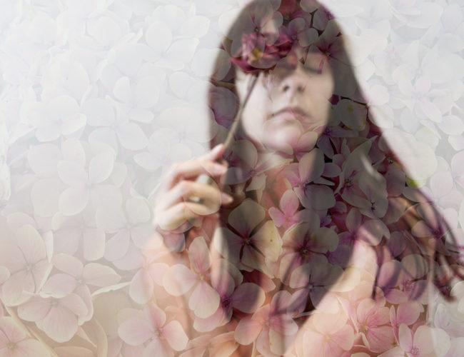 photo, surimpression, femme, fleur