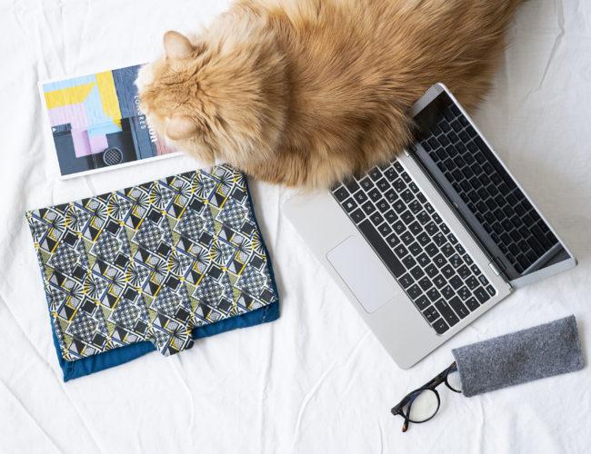 DIY, couture, pochette, ordinateur, couture débutant, facile, tutoriel, photo, tissus wax
