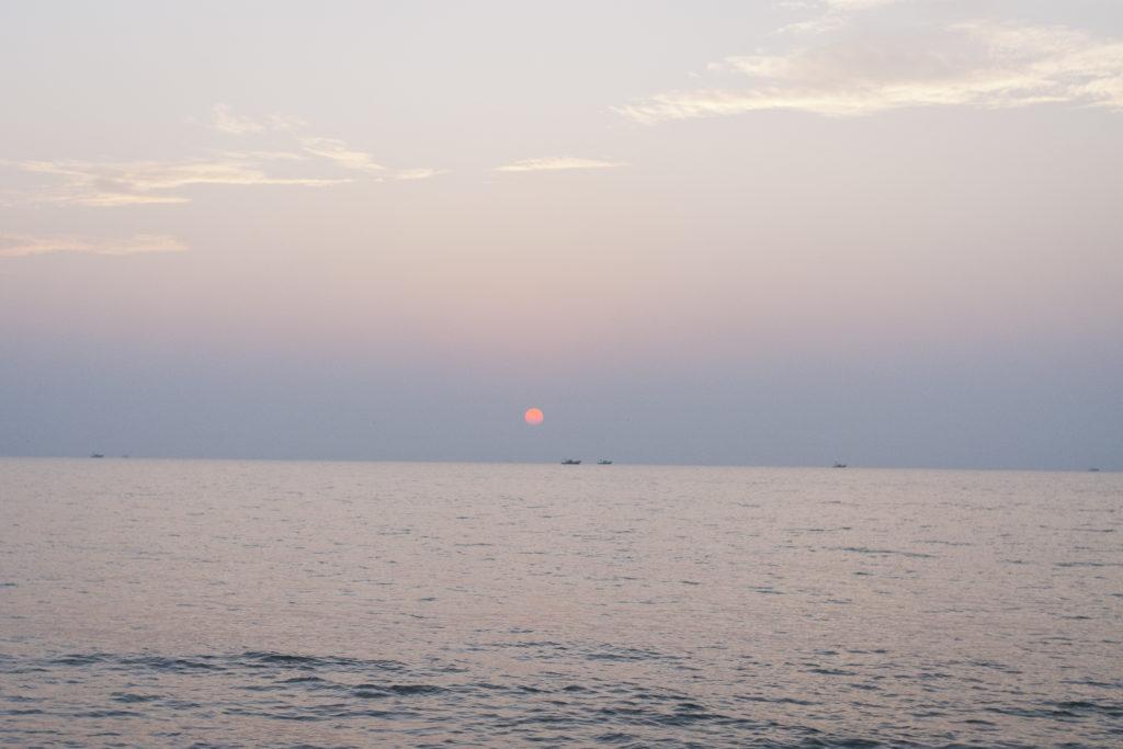 Photo de voyage, paysage, coucher de soleil, Rajah Beach, Kerala, Inde
