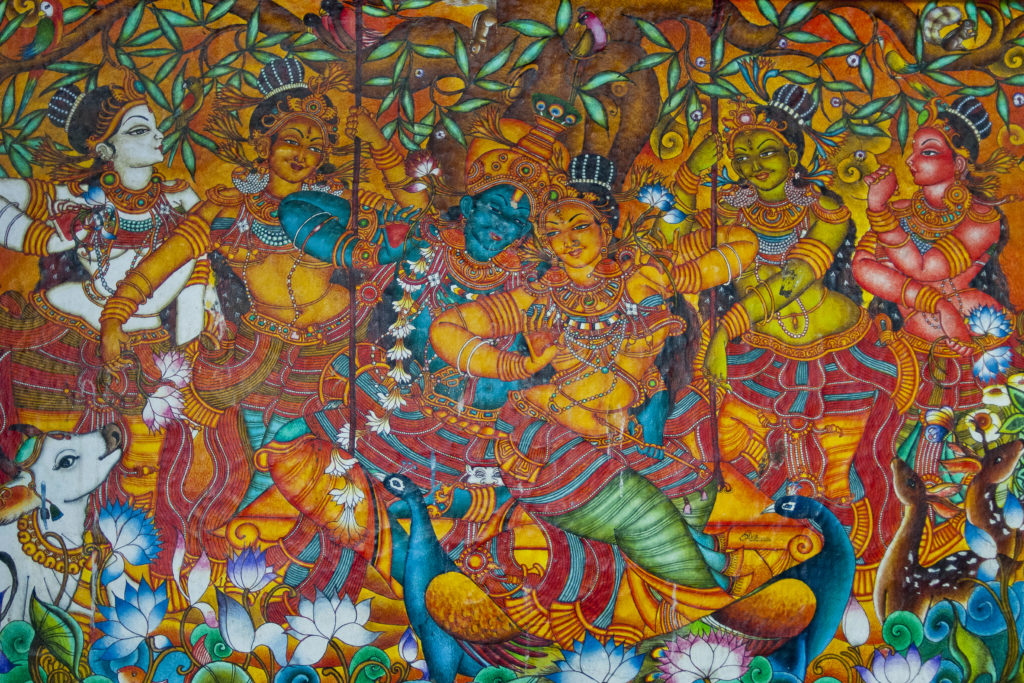 photo, fresque indienne, temple