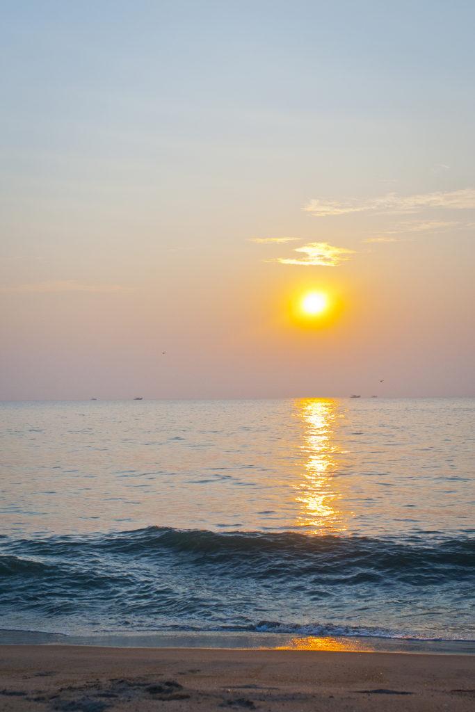 Photo, coucher de soleil, plage, Kerala, Inde