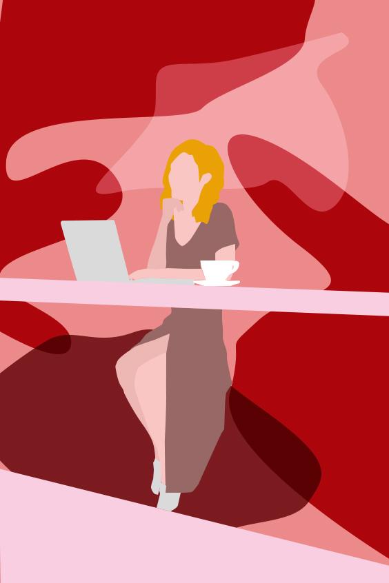 Dessin, illustration, coworking, free-lance, femme qui travaille, bureau, être son patron, Laurie Buttigieg