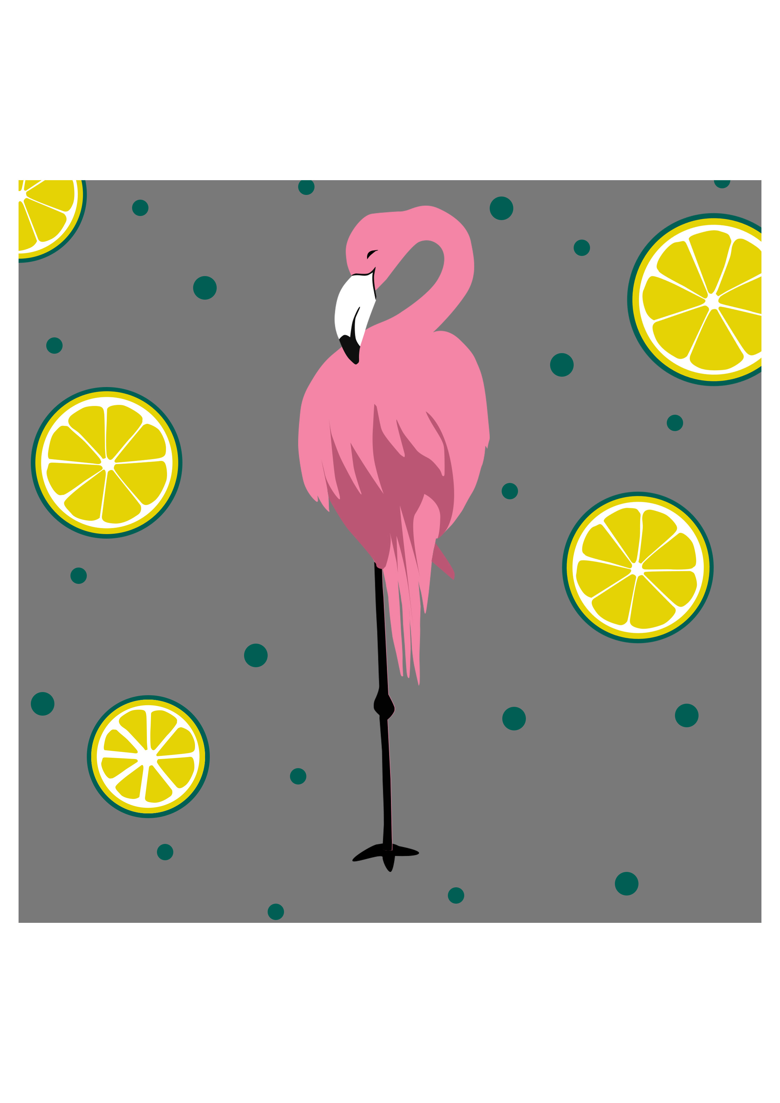 Illustration, flamant rose, citron, motif à télécharger, punch needle
