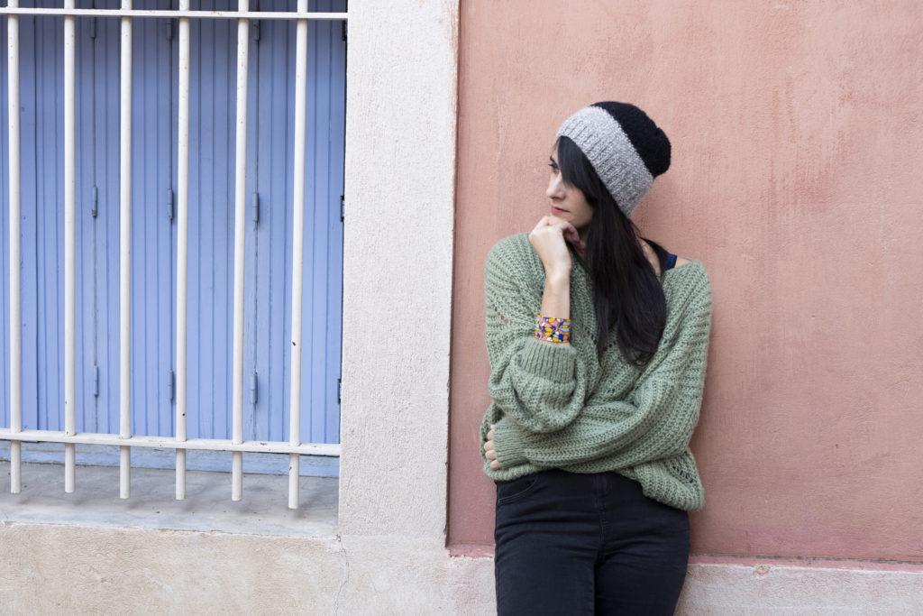 photos, tricot, tricoter un bonnet pour homme, bonnet au point de riz, tricoter un bonnet