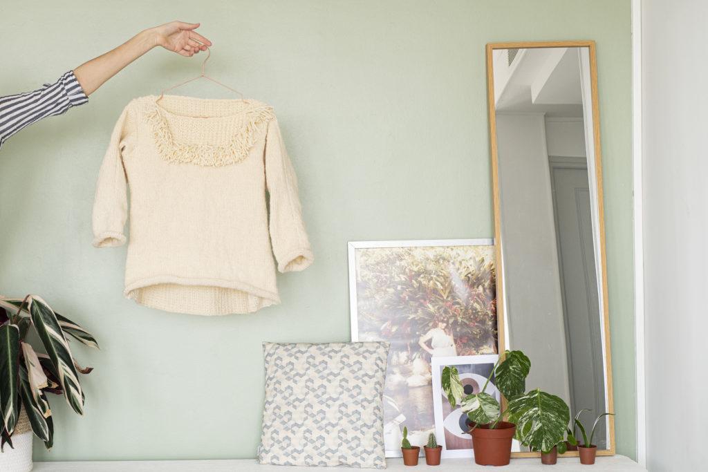 photo, tricot, fait main, Pull Yvette de la Maison Victor, pull en laine, pull fait main