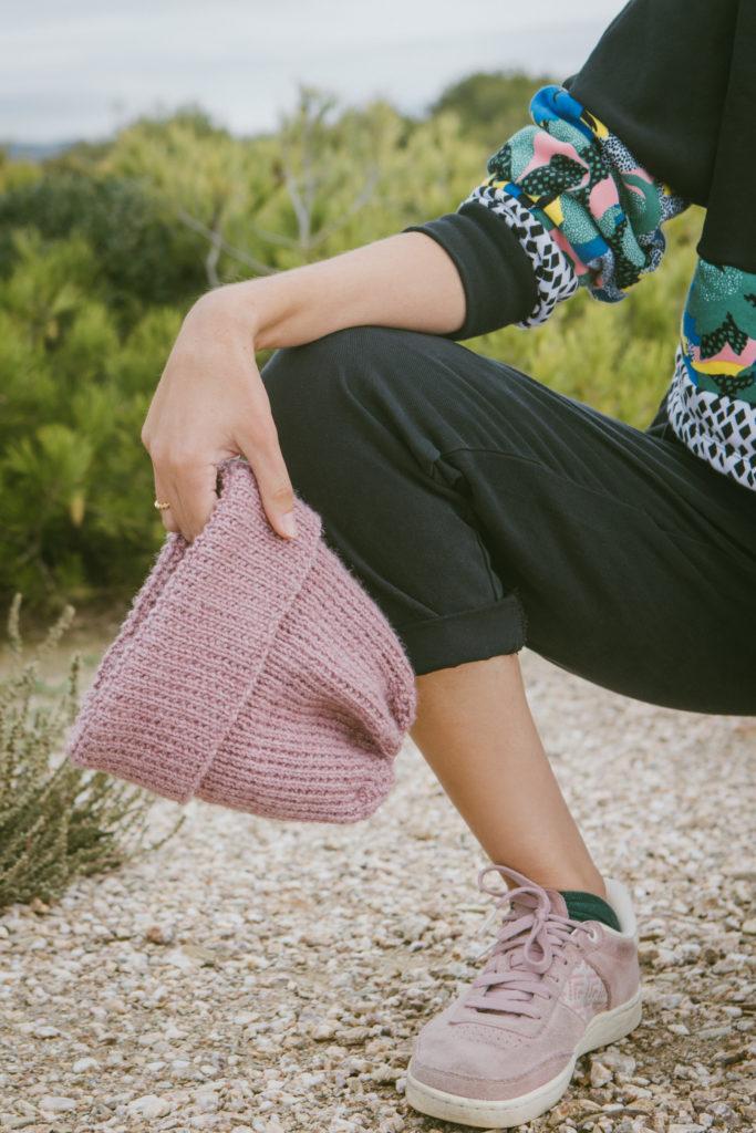 tricot, bonnet torvi, mauricette c, je tricote, tricot facile, sock yarn, bonnet mauve pale, elsa cadic, photo, zoom, point fantaisie, tricoter, tricot facile, apprendre à tricoter